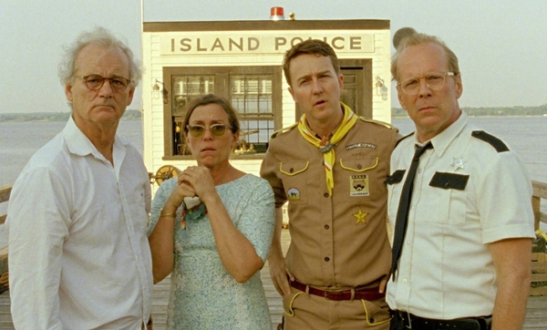 (l to r.) Bill Murray as Mr. Bishop, Frances McDormand as Mrs. Bishop, Edward Norton as Scout Master Ward, and Bruce Willis as Captain Sharp in Wes Anderson's MOONRISE KINGDOM, a Focus Features release.